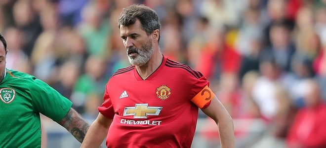 Celtic and Republic of Ireland Legends' Andy Reid (left) and Manchester United Legends' Roy Keane during the Liam Miller tribute match at Pairc Ui Chaoimh, Cork.